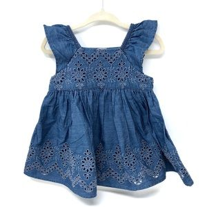 GAP Baby Girl Denim Eyelet Dress